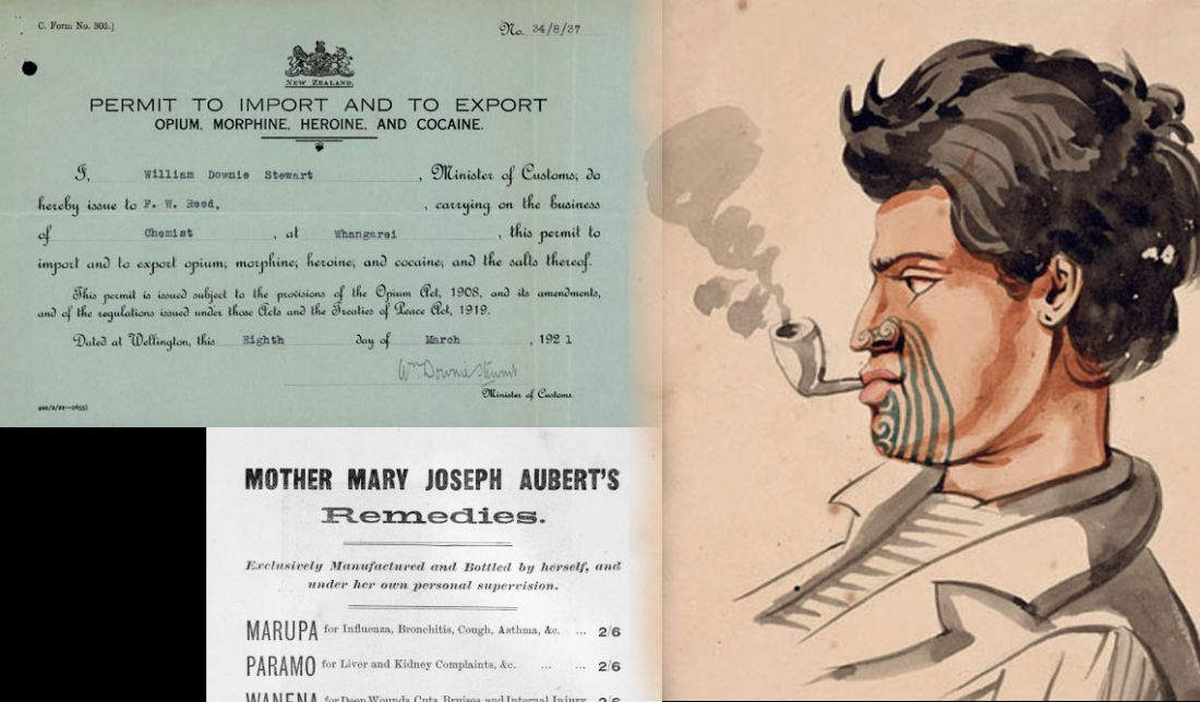 Drugs once legally used for medicinal purposes were ultimately restricted. Māori man smoking a pipe, 1847.