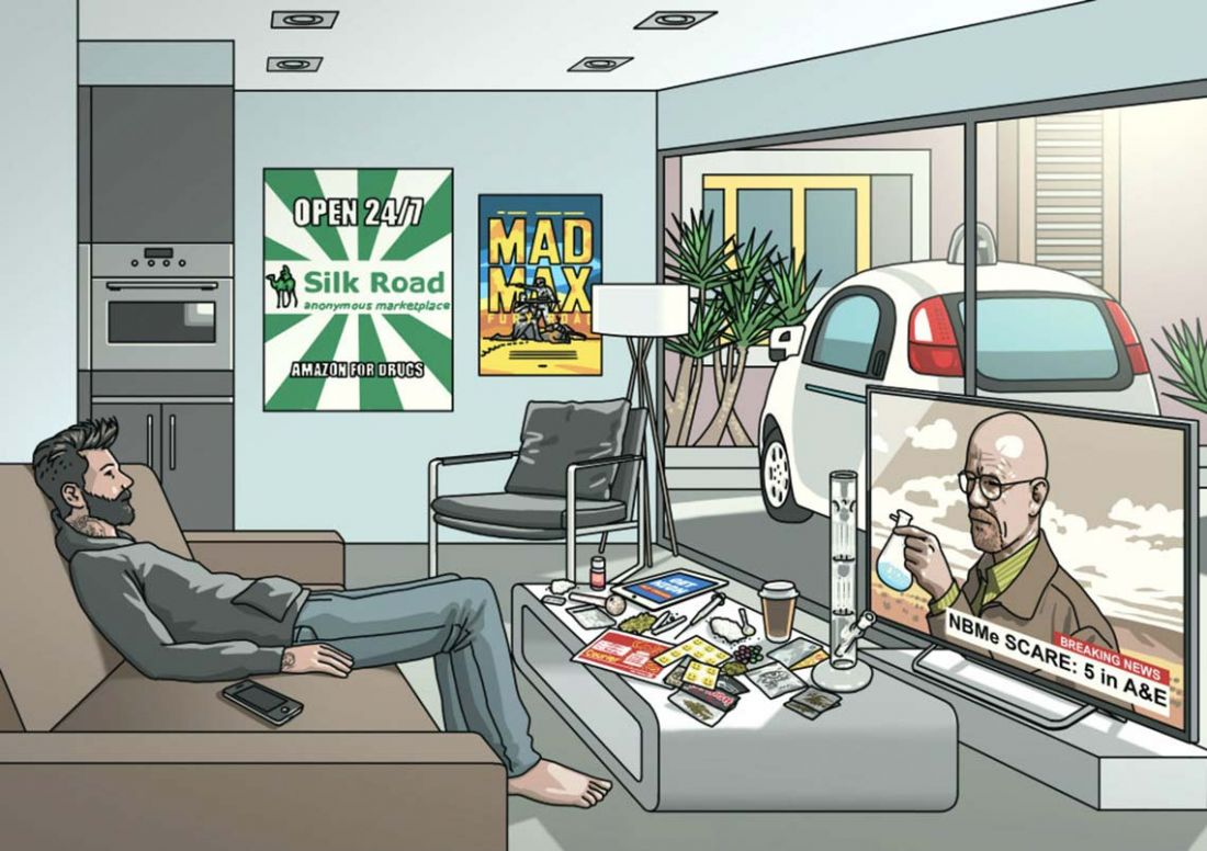 Cartoon of modern teenager watching Breaking Bad, with drug paraphernalia