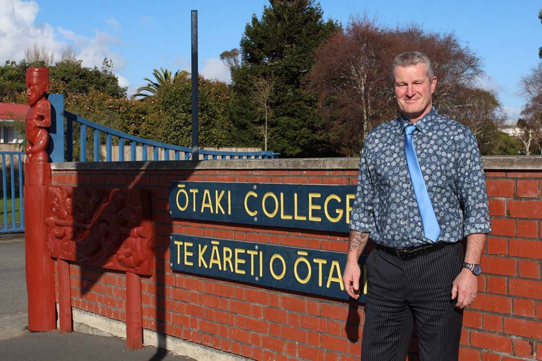 Otaki College Pincipal Andy by school gates