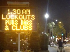 Sydney street sign: 1.30am lockouts pubs bars and clubs