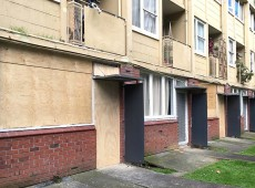 Boarded up HNZ Greys Ave flats in Auckland