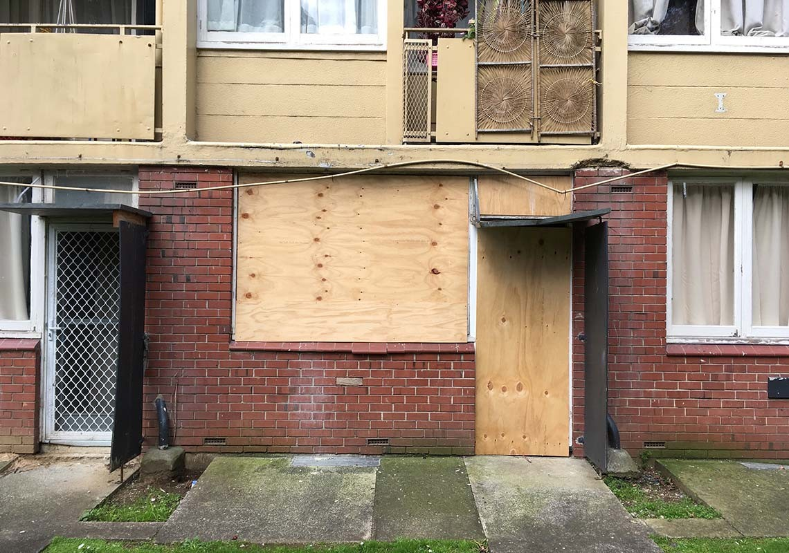 Boarded up HNZ Greys Ave flats in Auckland, view 2
