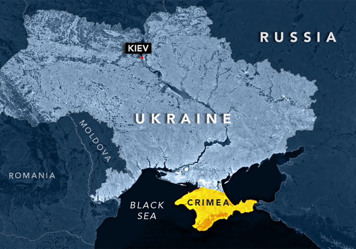 Map of Russia showing Ukraine and Crimea