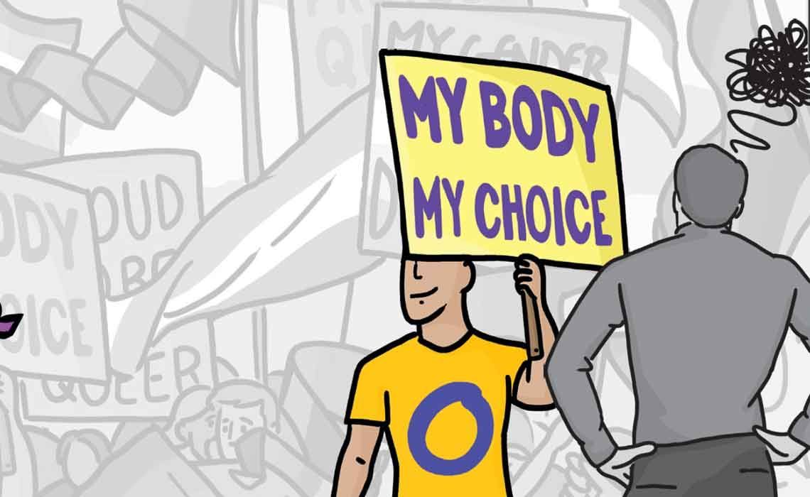 "Illustration of a man holding a placard reading ""My body my choice"" against a greyscale background of  rally participants. One man faces him down with hands on hips."