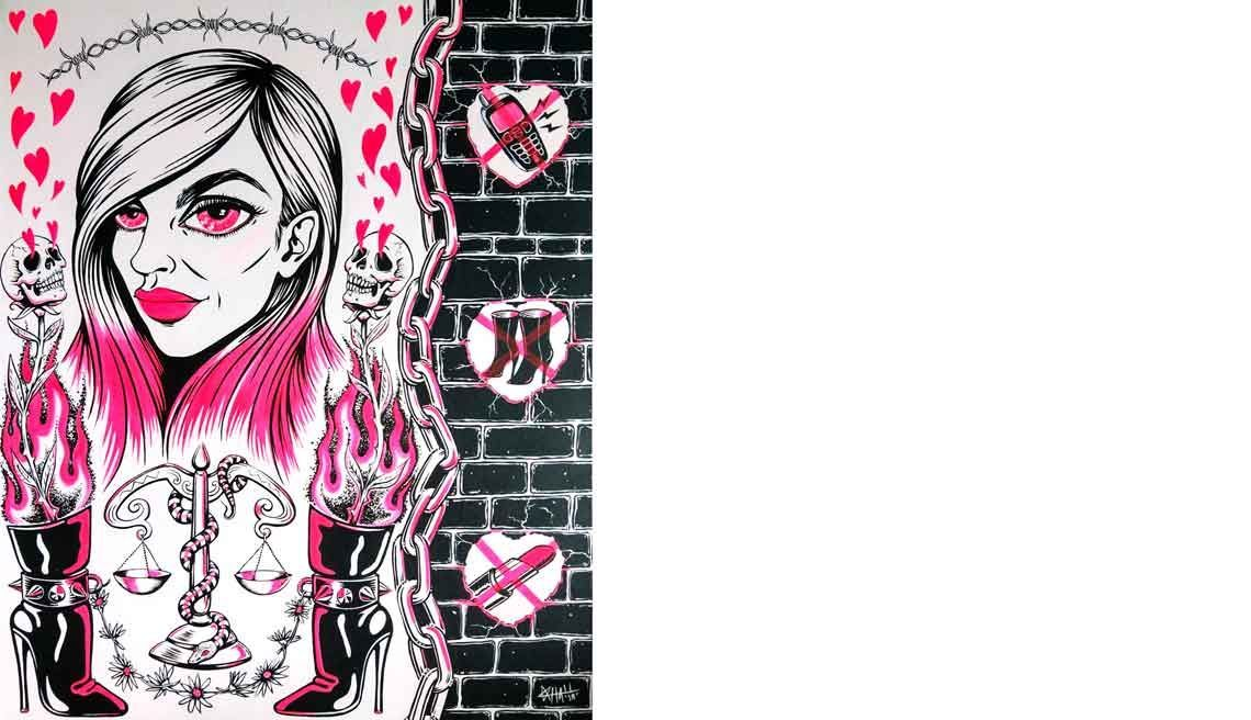Portrait of Jess in pink, black and white with hearts, scales of justice, boots and sculls - plus prohibited prison items like cellphone and lipstick