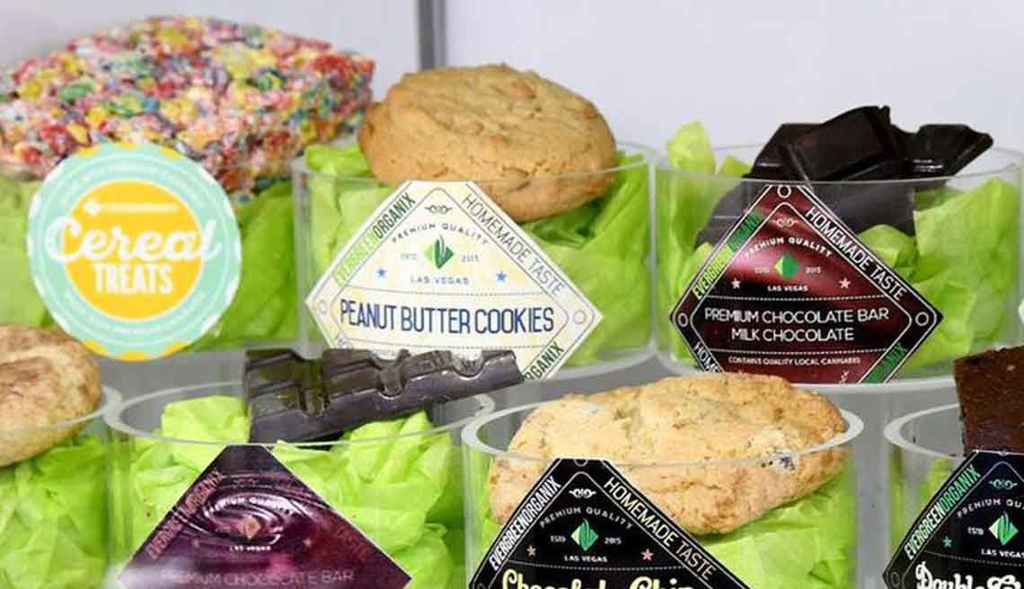 Aassortment of sweet cannabis-infused edibles, from cereal bars to cookies to chocolate.
