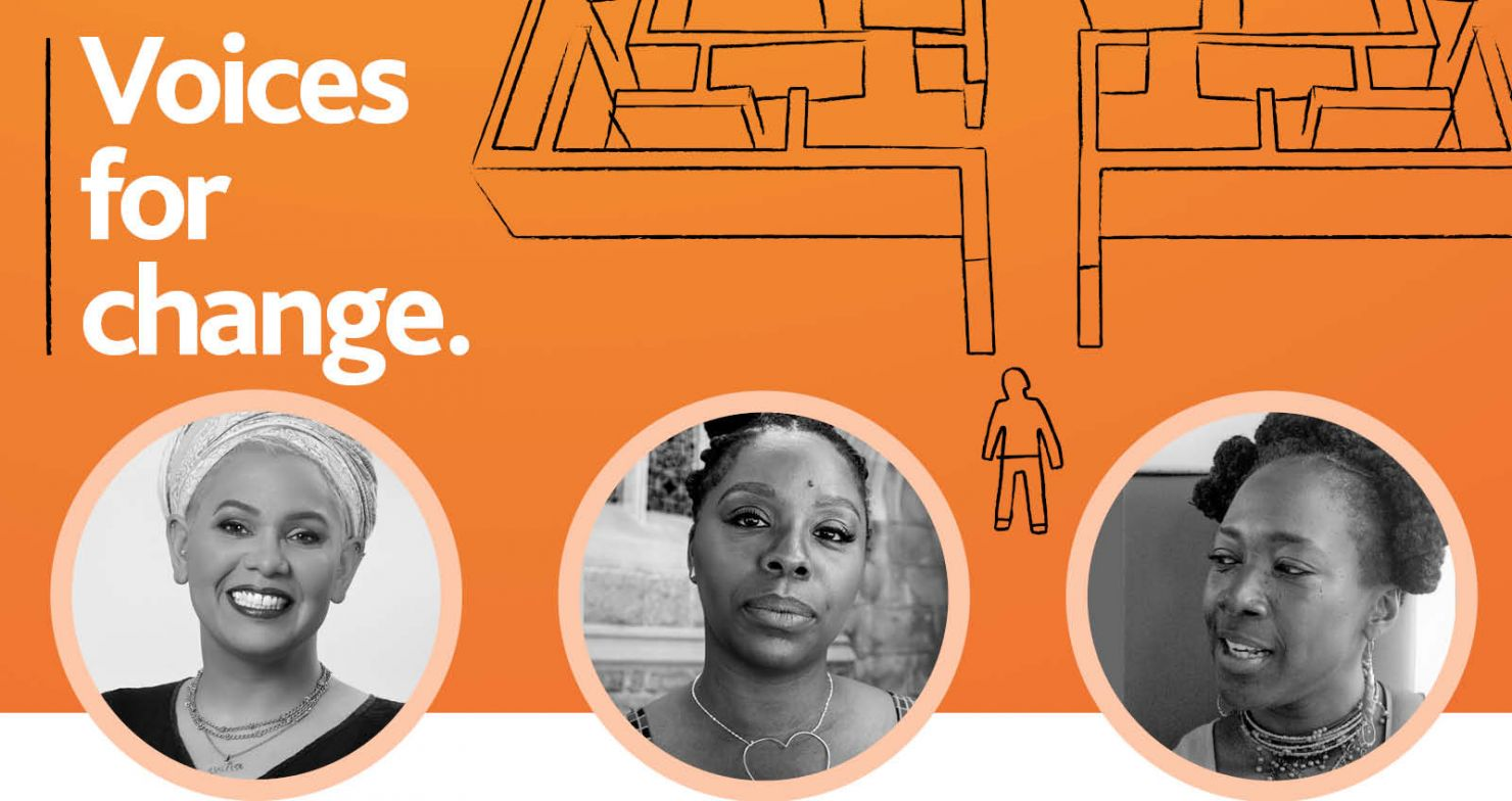 Voices for Change: Black & white photos of asha bandele, Patrisse Cullors and Deborah Small over an orange background with Through the Maze graphic.