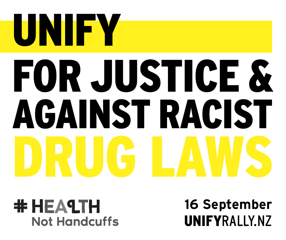 Block letters, black and yellow: UNIFY FOR JUSTICE & AGAINST RACIST DRUG LAWS