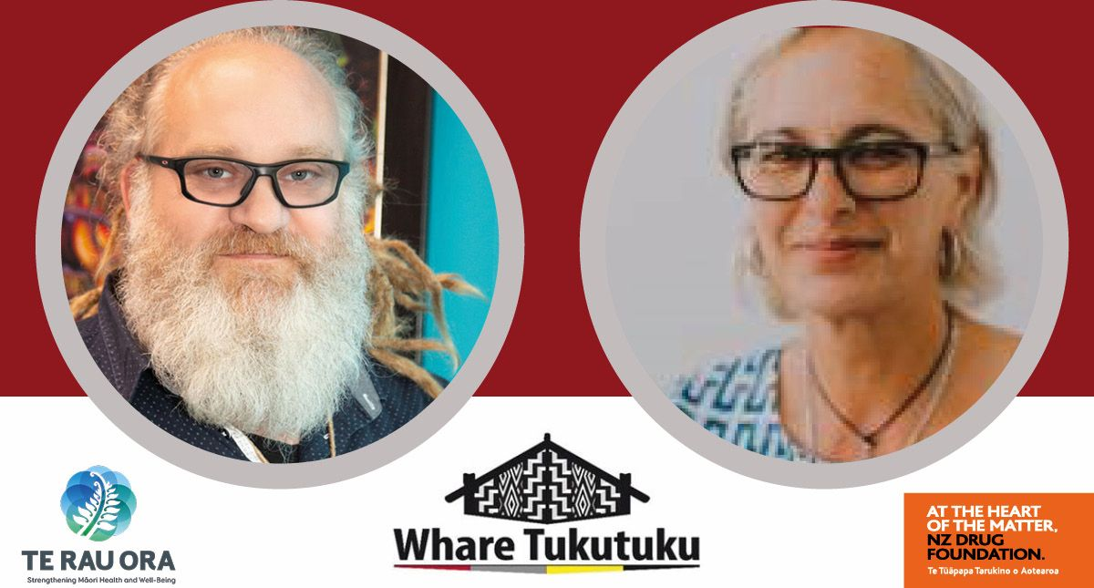 Andre McLachlan  & Selina Elkington - with logos for Te Rau Ora, Te Whare Tukutuku and NZ Drug Foundation