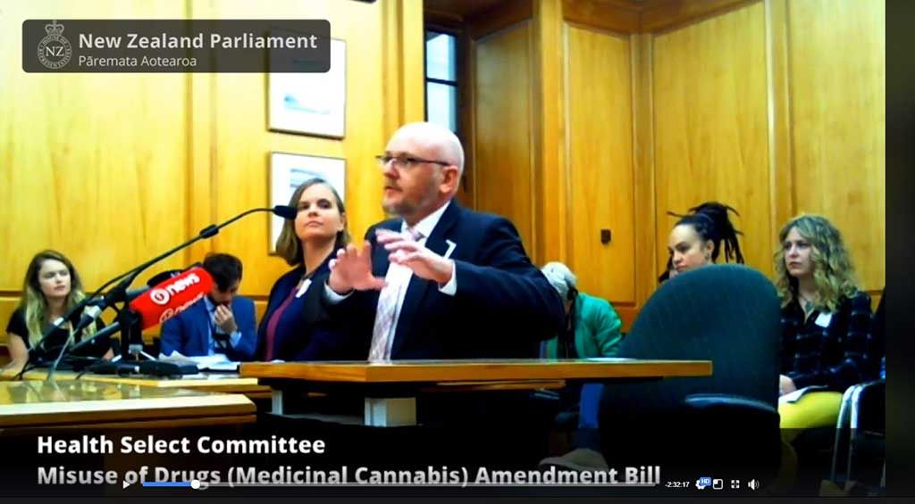 Ross Bell and Kali Mercier speak to the Select Committee on the Misuse of Drugs (Medicinal Cannabis) Amendment Bill